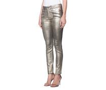 Skinny-Jeans mit metallischem Finish  // Zipper Gold