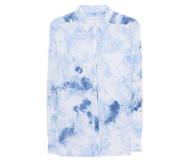 Seidenbluse im Batik-Style  // Sky Blue