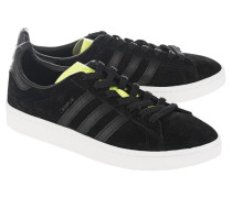 Flache Veloursleder-Sneakers  // Campus Black Solar Yellow