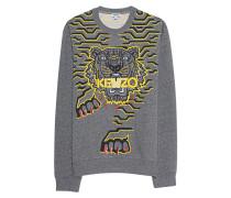 Melierter Baumwoll-Sweater mit Stickerei  // Tiger Mottled Grey