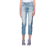 Straight-Leg Jeans im Patchwork-Look  // Happy Blue