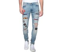 Destroyed Slim-Fit Jeans  // Art Patch Blue