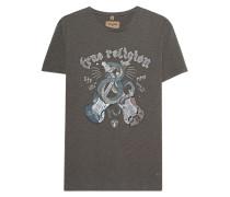 Besticktes Baumwoll-T-Shirt mit Print  // Snake Guitar Dusty Olive