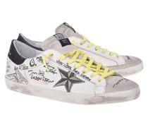 Leder-Sneaker mit Schriftzügen