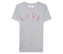 Meliertes T-Shirt mit Schriftzug