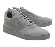 Flache Leder-Sneakers  // Low Top Diagonal Grey