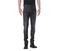 Destroyed Slim Fit Jeans  // Cool Guy Black