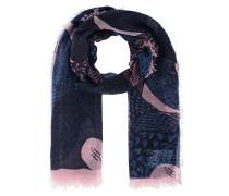 Abstrakt gemusterter Kaschmir-Schal  // Fringe XL Pink Blue
