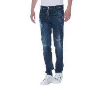 Destroyed Slim-Fit-Jeans  // Cool Guy Zip Blue