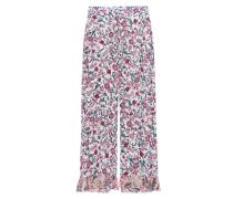 Gemusterte Hose mit Volants  // Pantalon Natural White