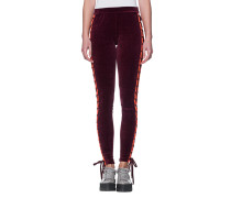 Samt-Leggings mit Schnürung  // Velvet Lacing Bordeaux