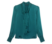 Silky Blouse Bow Green