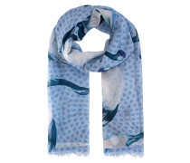 Schal mit Print  // Light Pashima Swan Blue