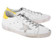 Flache Leder-Sneaker  // Superstar Ice Star White