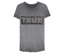 T-Shirt mit Strassstein-Verzierung  // Boxy Crew Glitter Grey