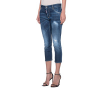 Destroyed Skinny-Jeans  // Slouchy Cropped Blue