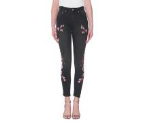 Skinny-Jeans mit Stickerei  // Paradise Scallywags Black Oak