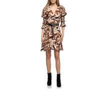 Gemustertes Mini-Kleid mit Puff-Ärmeln