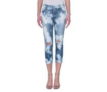 Washed-Out Skinny Jeans  // Glam Head Moonwash Blue