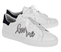 Flache Ledersneaker  // 27 Silver Love Street White