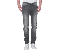 Washed-Out Slim-Fit Jeans  // Rocco Grey Denim Comfort
