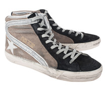 High-Top Sneaker aus Textil  // Slide Beige Brown