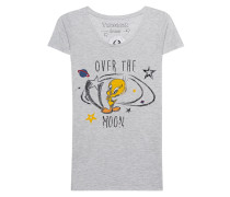 Meliertes T-Shirt mit Print
