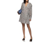 Gemustertes Mini-Kleid mit Rüschen