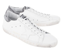 Flache Glattleder-Sneaker  // Superstar White Leather/Landed