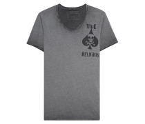 Baumwoll-T-Shirt mit Print  // Scoop Neck Chest Print Castle Rock Grey
