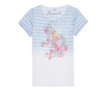 Burn-Out-T-Shirt mit Print und Strass  // Frog Flower Rhinestone Blue White