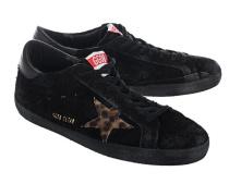 Flacher Veloursleder-Sneaker  // Superstar Black Leo Star