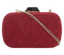 Minaudière aus Lammveloursleder  // Shell Clutch Metallic V Suede Red