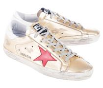 Metallische Glattleder-Sneaker  // Superstar Gold/Red And Blue Star