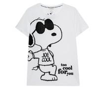 Bedrucktes T-Shirt im Burn-Out Look mit Strasssteinen
