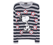 Gestreifter Kaschmir-Pullover mit Druck  // Snoopy Stripes Grey