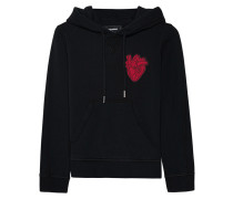 Cropped Hoodie  // Heart Embroidery Black