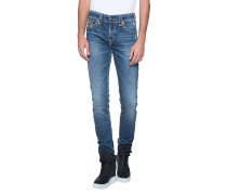Skinny-Jeans mit Ziernähten  // Rocco Super T Blue