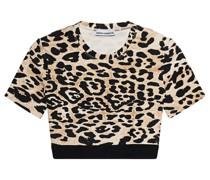 Cropped-T-Shirt mit Leo-Musterung