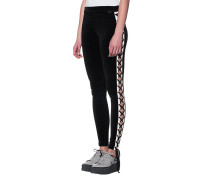 Samt-Leggings mit Schnürung  // Velvet Lacing Black