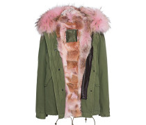 Parka-Jacke mit Fellfutter  // Army Mini Patch Panter Pink