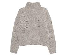 Grobstrick-Pullover mit hohem Kragen