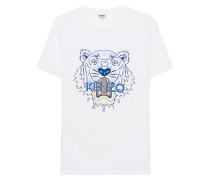 Baumwoll-T-Shirt mit Print  // Tiger Print Multi White
