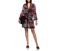 Gemustertes Kleid mit Spitzen-Details