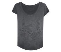 T-Shirt aus Baumwoll-Mix mit Print  // Crew Neck Flower Black