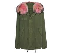 Parka-Jacke mit Fellbesatz  // Army Mini Quilt Panter Pink