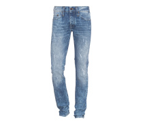 Rocco Relaxed Skinny Mid Blue Destroyed