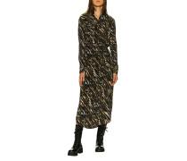 Gemustertes Maxi-Hemdblusen-Kleid