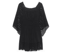 Baumwoll-Mini-Kleid  // Hole Embroidery Black