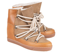 Wedge-Ankle-Snowboots aus Kalbsleder  // Nowles Camel